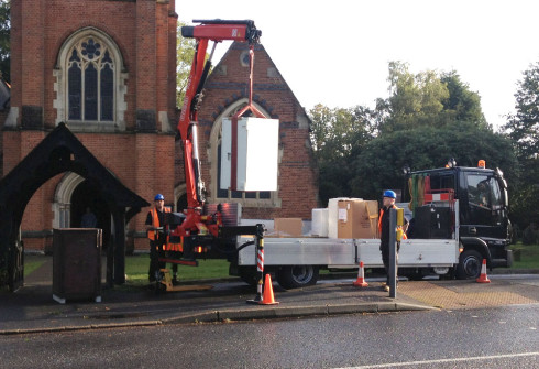 Chuch install with crane lorry