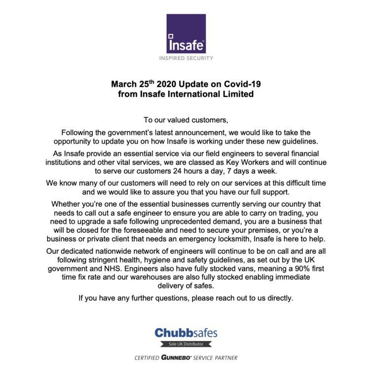 Covid-19 Update 25th March 2020